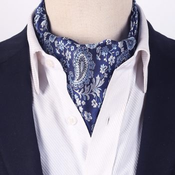 Blue With Black & White Paisley Ascot Cravat