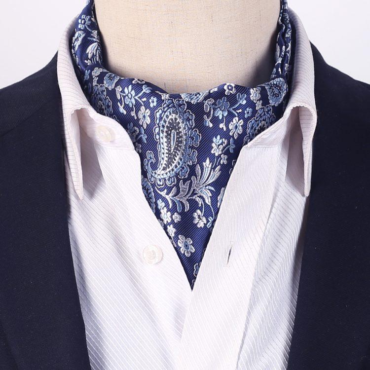Blue with Black & White Paisley Ascot Cravat