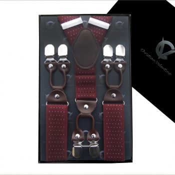 Burgundy Red Pin Dot Leather Attachment 3.5 Braces