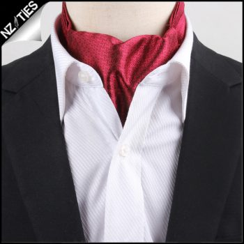 Men's Red Zig Zag Design Ascot Cravat
