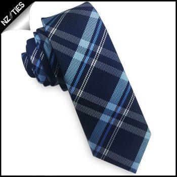 Dark Blue, Light Blue & White Tartan Skinny Tie