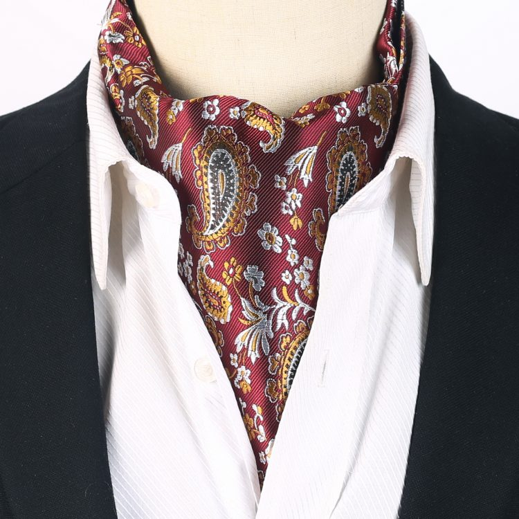Burgundy with Orange & Silver Paisley Ascot Cravat