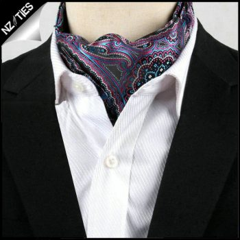 Men's Purple & Blue Paisley Ascot Cravat