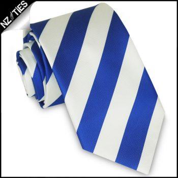 Royal Blue & White Stripes Mens Sports Necktie