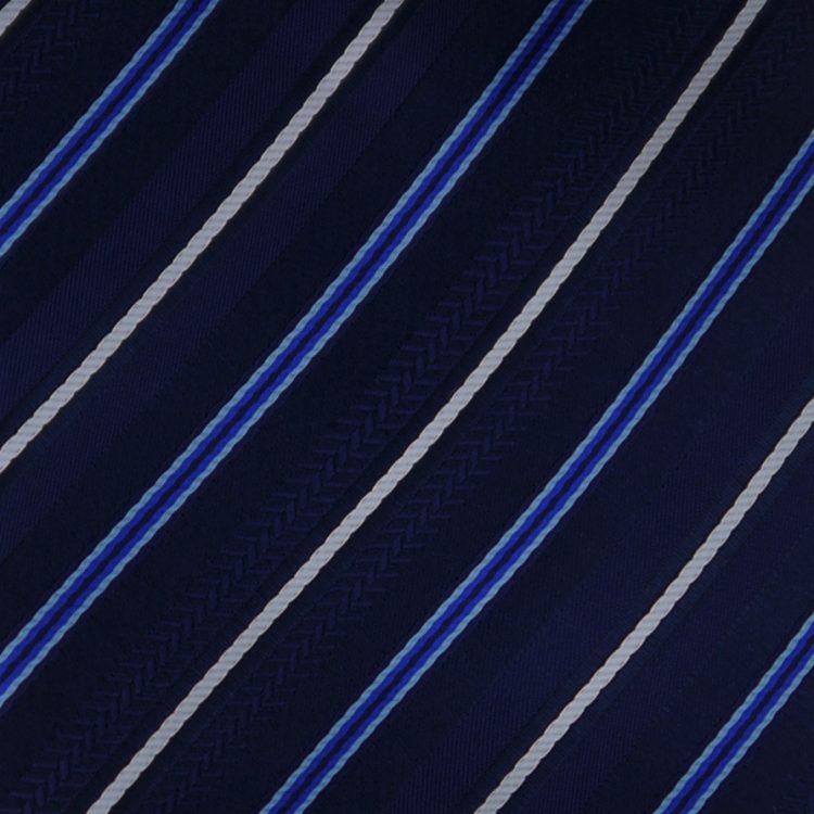 Black Dark Blue & White Stripes Mens Necktie 2
