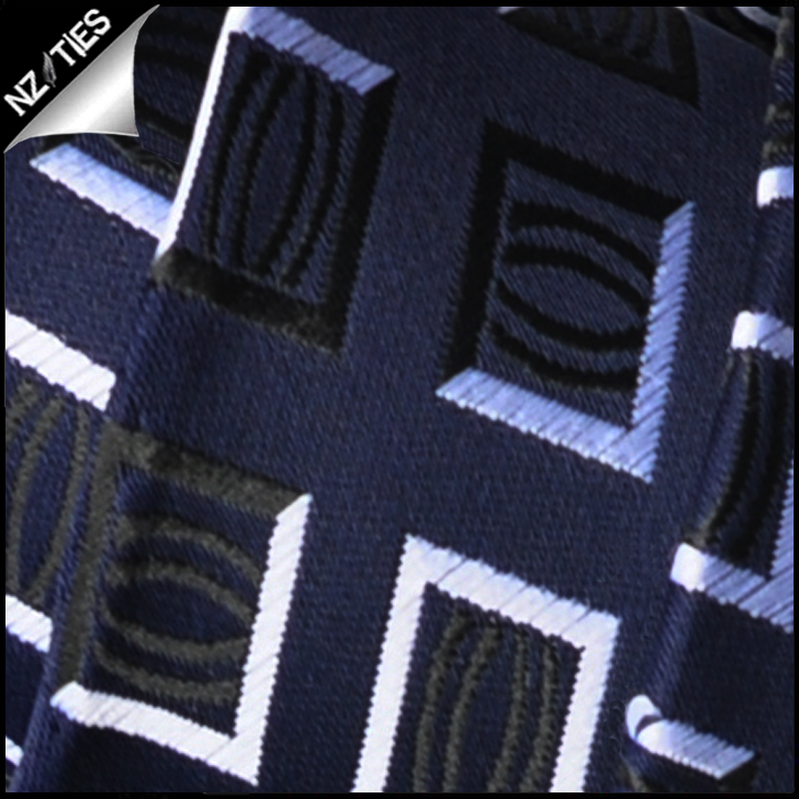 Navy Blue with White Squares Mens Necktie 2