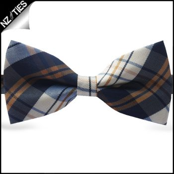 Brick Orange, Blue & Grey Tartan Plaid Bow Tie