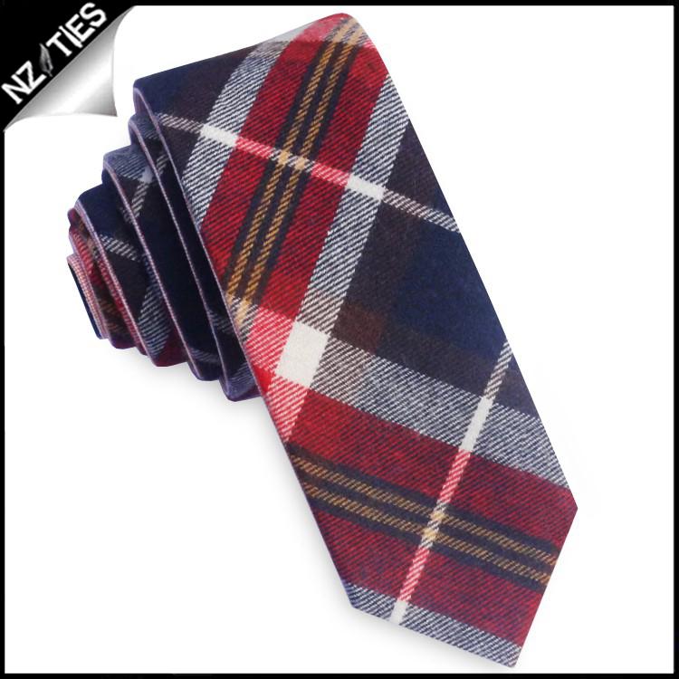 Blue, Yellow, Red & White Tartan Plaid Skinny Tie