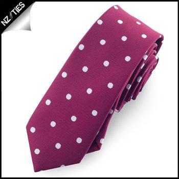Burgundy Polka Dot Mens Skinny Necktie