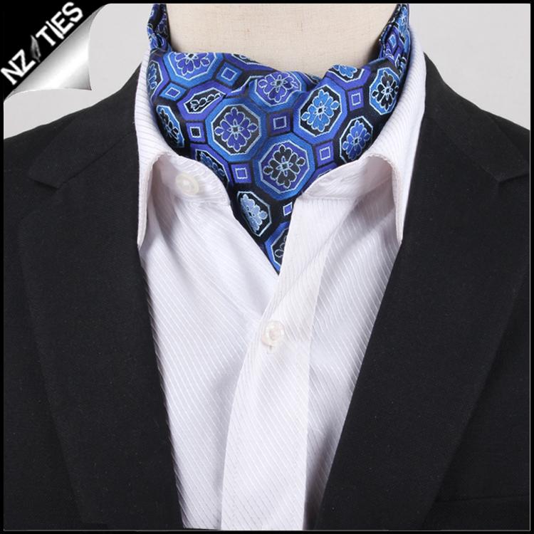 Men's Blue & Purple Octagonal Design Ascot Cravat