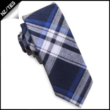 Dark Blue, Light Blue & White Tartan Plaid Skinny Tie