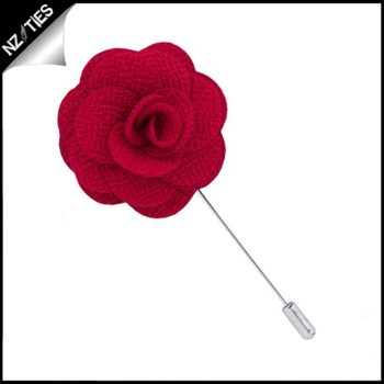 Scarlet Red Floral Lapel Pin