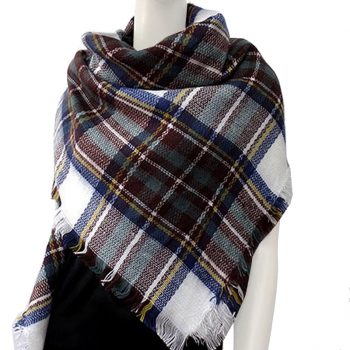 Brown, Blue, Green, Yellow & White Tartan Womens Scarf