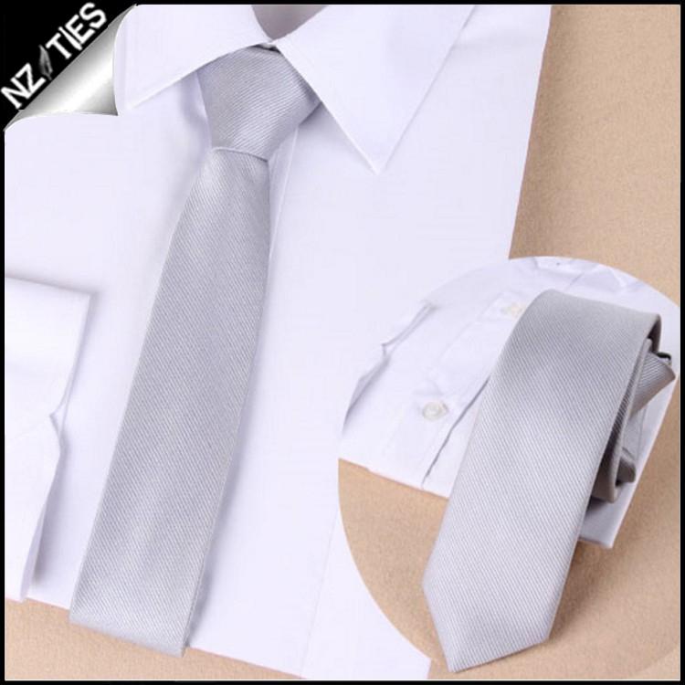Mens Light Silver Zipper Necktie 2