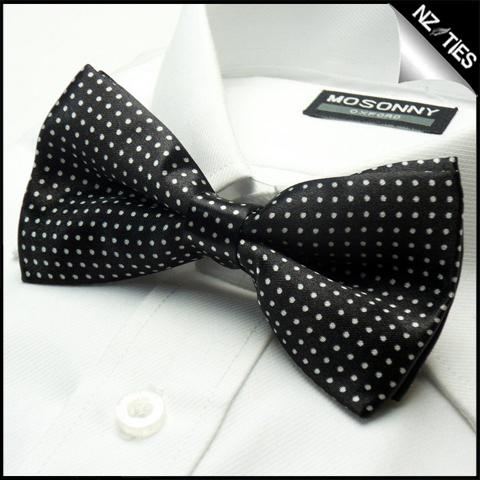 Mens Black with White Polkadots Bow Tie