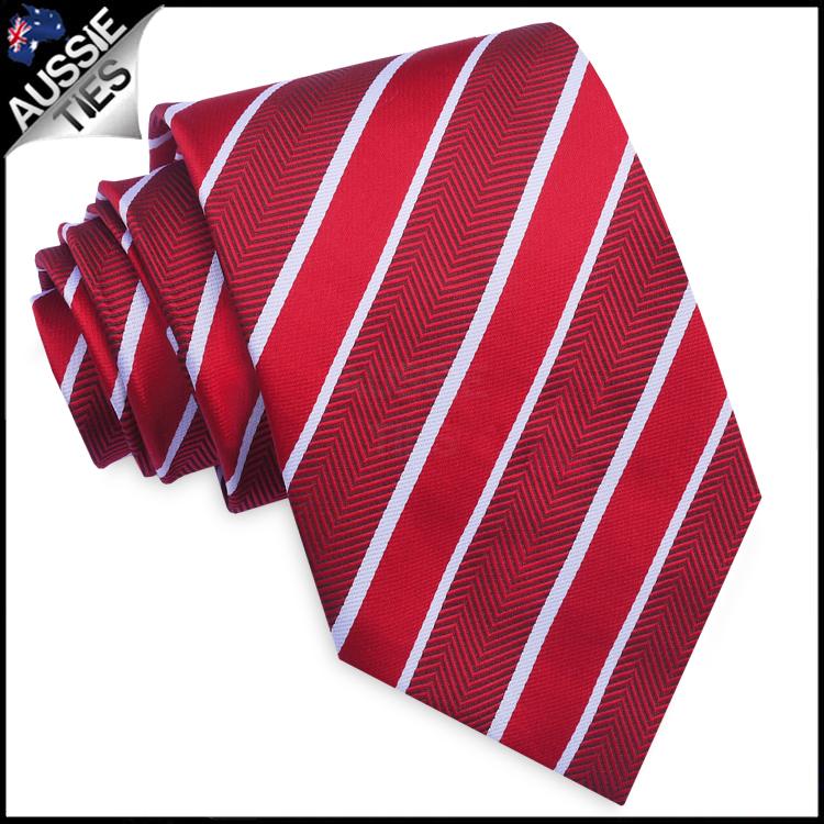 Red & White Zig Zag Stripes Mens Necktie