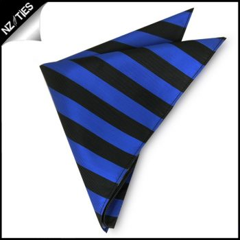 Blue & Black Striped Pocket Square Handkerchief