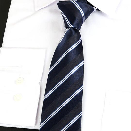Dark Blue & White Stripes Silk Tie 2