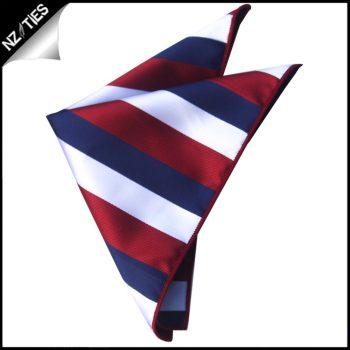 Scarlet, White & Blue Stripes Pocket Square