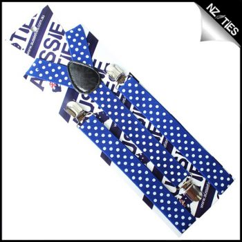 Blue With White Polka Dots Braces Suspenders