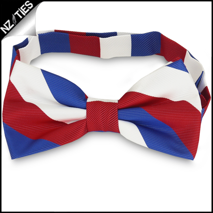 Red, White & Blue Stripes Mens Bow Tie
