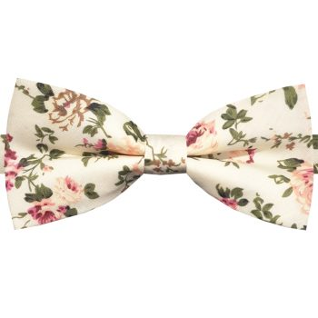 Ivory With Green & Red Floral Pattern Bow Tie