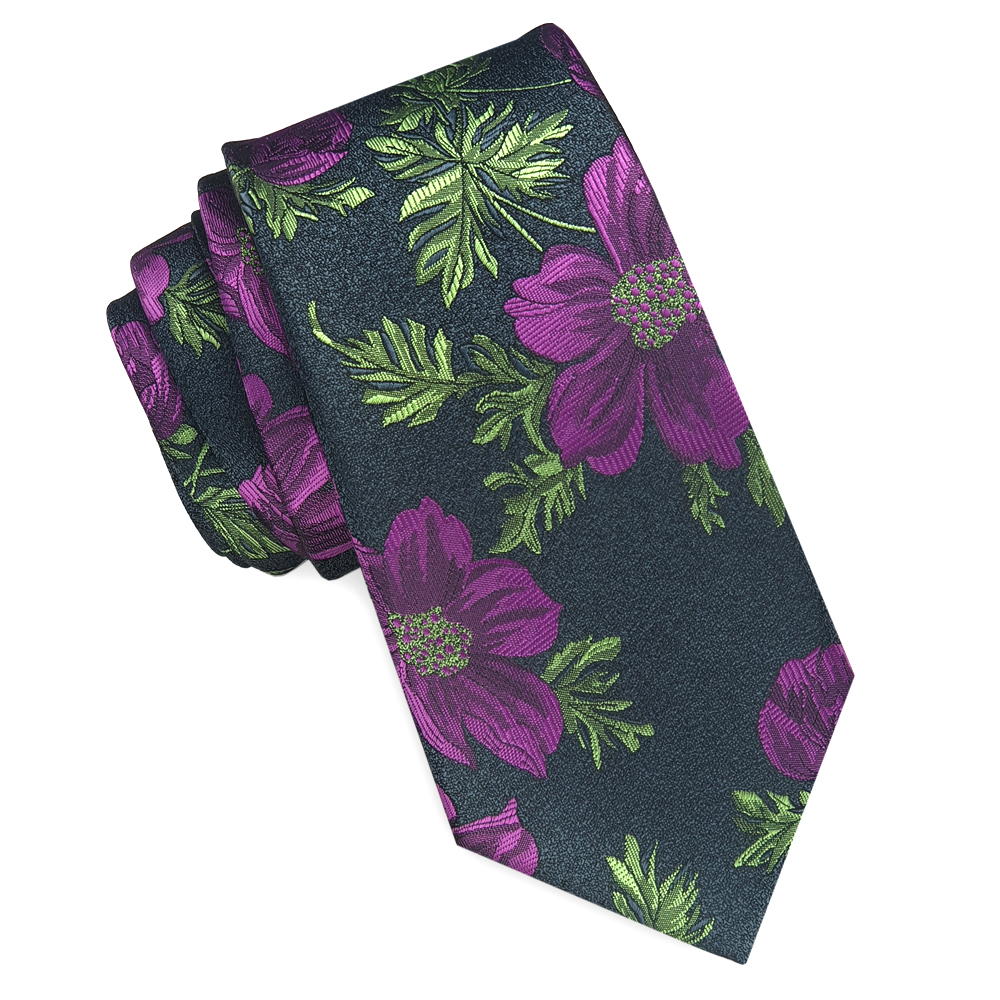 Black with Green and Purple Floral Slim Tie