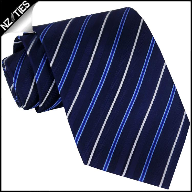 Black Dark Blue & White Stripes Mens Necktie