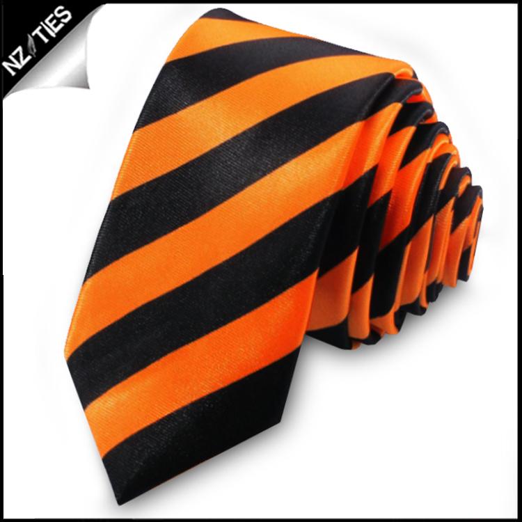 Orange & Black Mens Striped Skinny Necktie