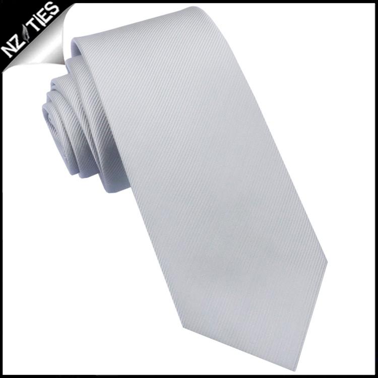 Light Silver Grey Ribbed 6cm Mens Slim Tie