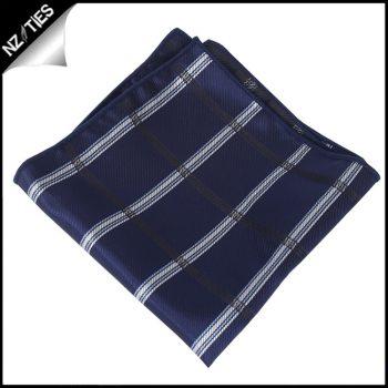 Midnight Blue Plaid Pocket Square