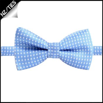 Boys Sky Blue With White Polkadots Bow Tie