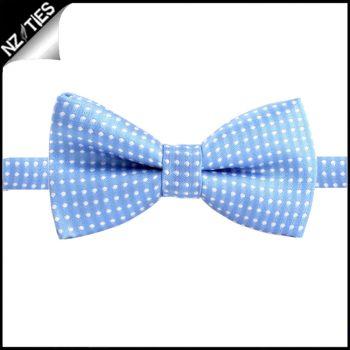 Boys Sky Blue With White Polkadots Bow Tie