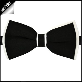 Black With White Trim Bow Tie
