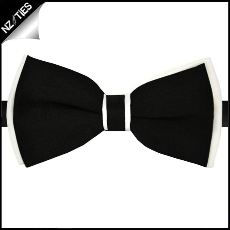 Black with White Trim Bow Tie