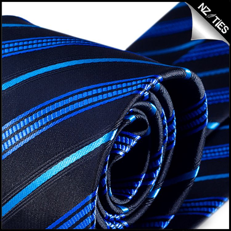 Black with Blue and Light Blue Stripes Mens Necktie 2