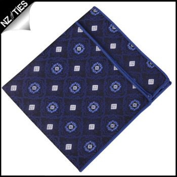 Navy With White Squares & Blue Rings Pocket Square