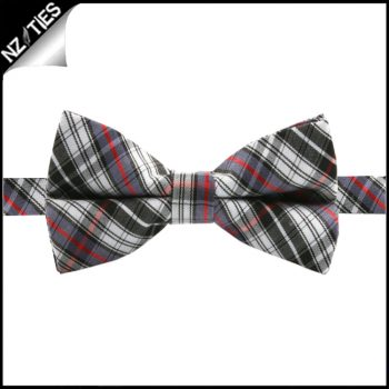 Boys Black, Grey, Red And White Tartan Bow Tie