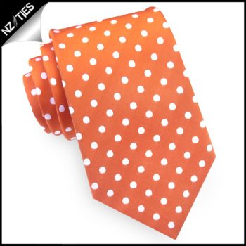 Orange Polka Dot Mens Tie