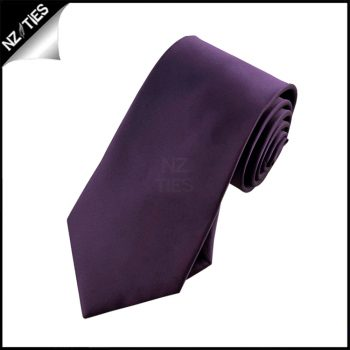 Boys Grape Eggplant Purple Plain Necktie