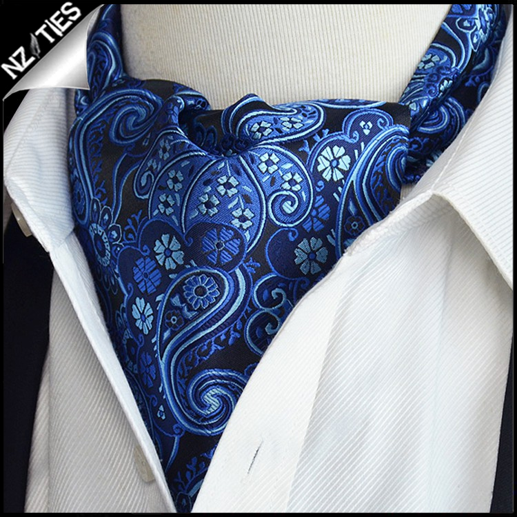 Black with Dark & Light Blue Paisley Ascot Cravat