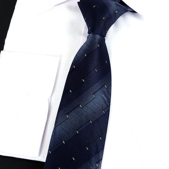 Dark Blue Stripes with Gold Ridged Pattern Silk Tie 2