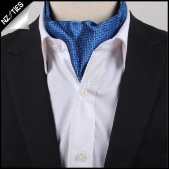Men's Blue & Black Interlocking Design Ascot Cravat