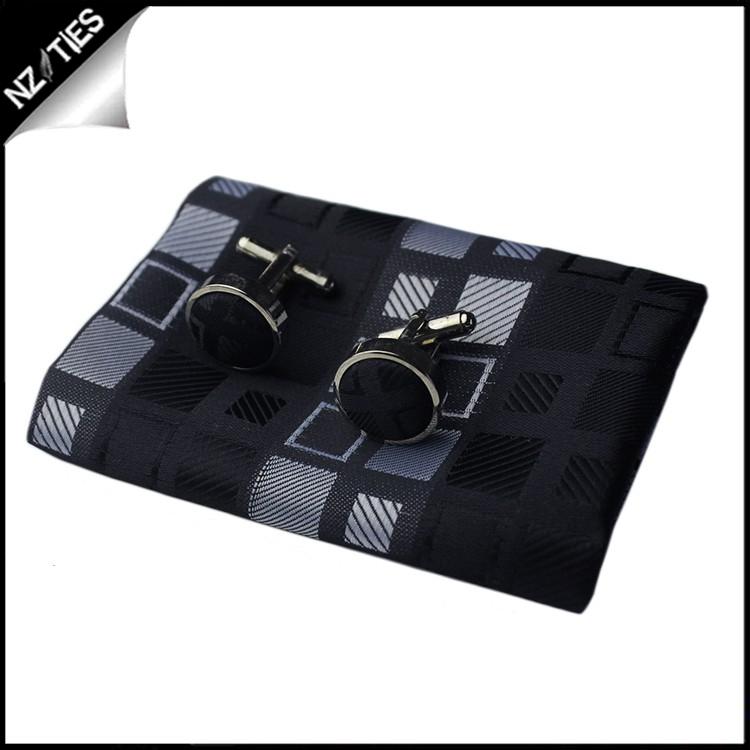 Black with Grey & White Squares Tie Set 4