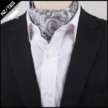 Men's Light Silver Paisley Ascot Cravat