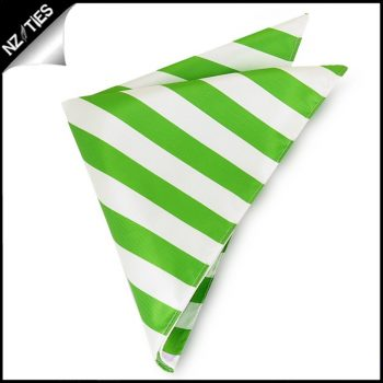 Green & White Striped Pocket Square Handkerchief