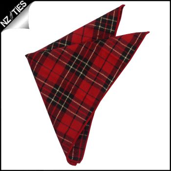 Red, Black And Gold Tartan Pocket Square
