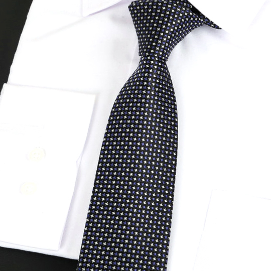 Black with Dark Blue & White Stars Silk Tie 2