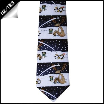 Black Reindeer Penguins Sports Christmas Tie
