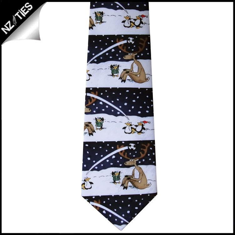 Black Reindeer Penguins Sports Christmas Tie
